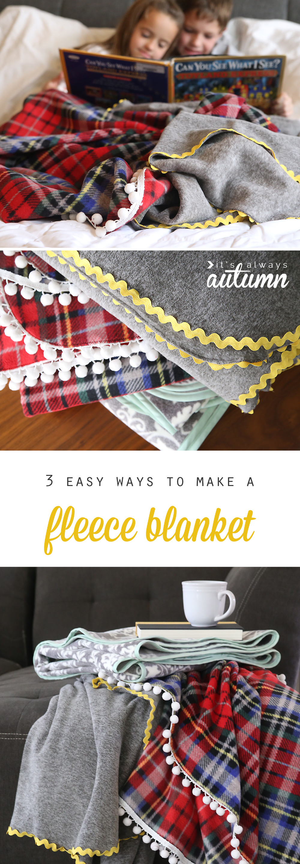 These DIY fleece blankets are gorgeous! How to make a fleece blanket. Great DIY Christmas or holiday gift idea!