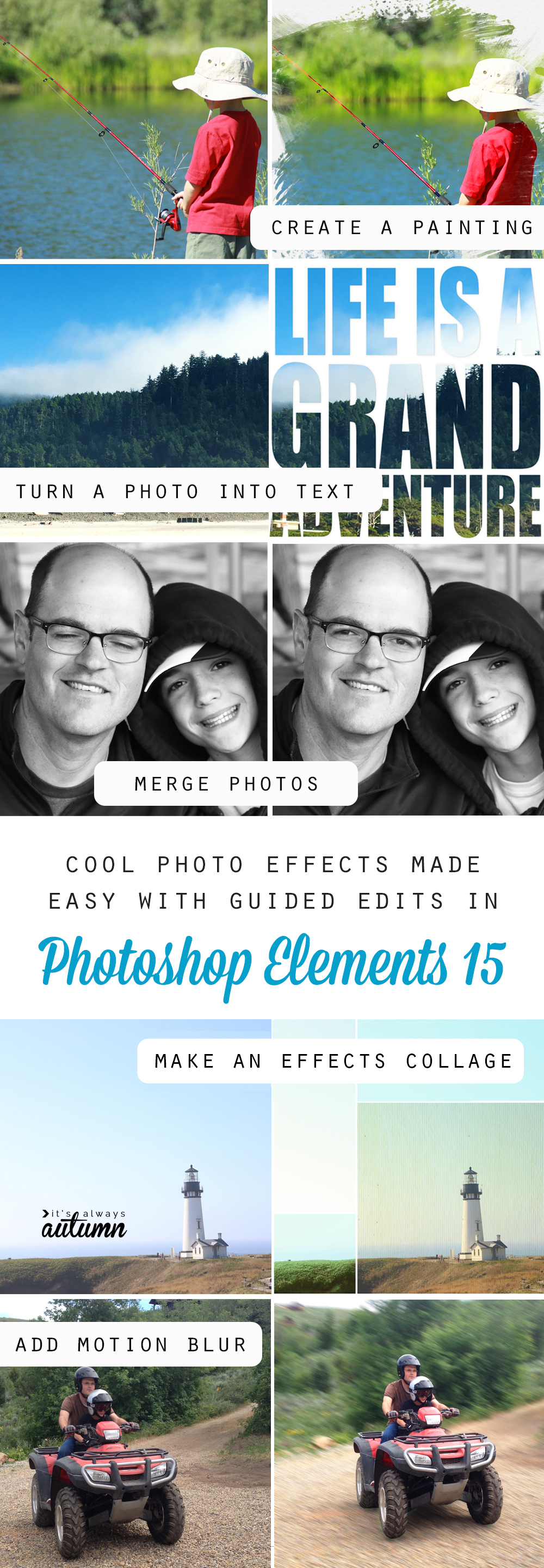 There are so many cool photo edits and effects you can do in Photoshop Elements 15 using easy guided edits!