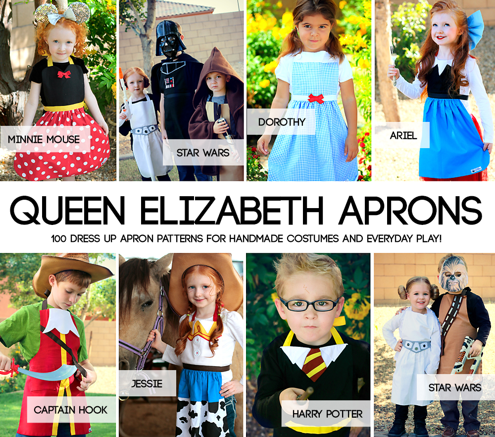 Collage of queen elizabeth dress up aprons