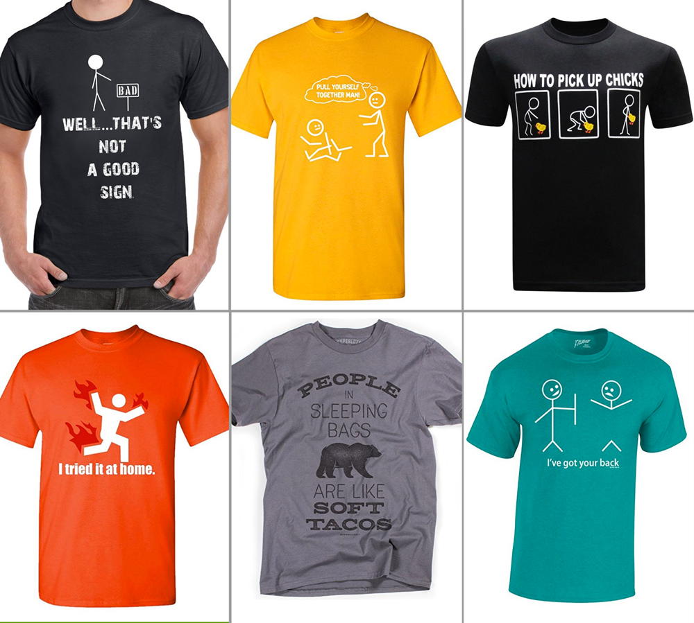 t-shirts with silly jokes on them