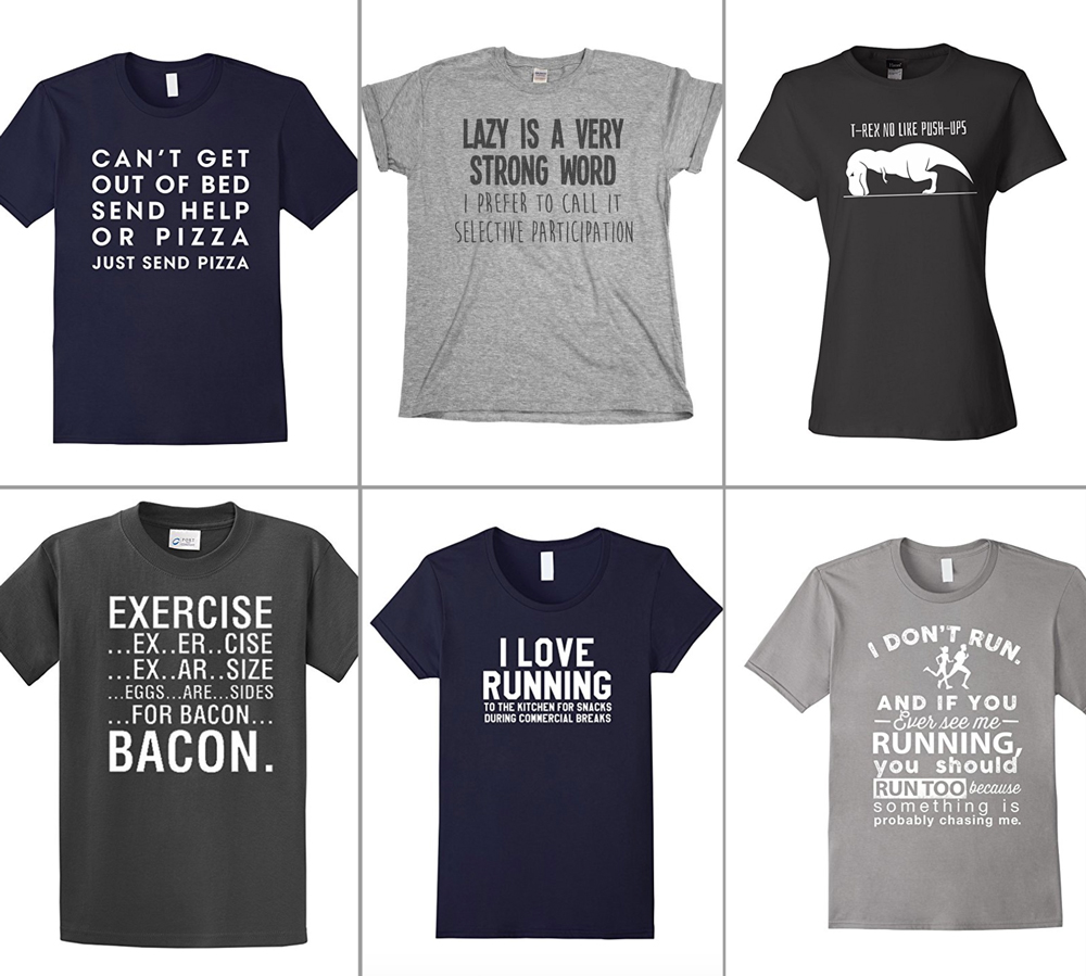 t-shirts with jokes about exercise on them