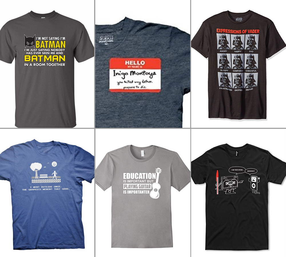 t-shirts with jokes about movies on them