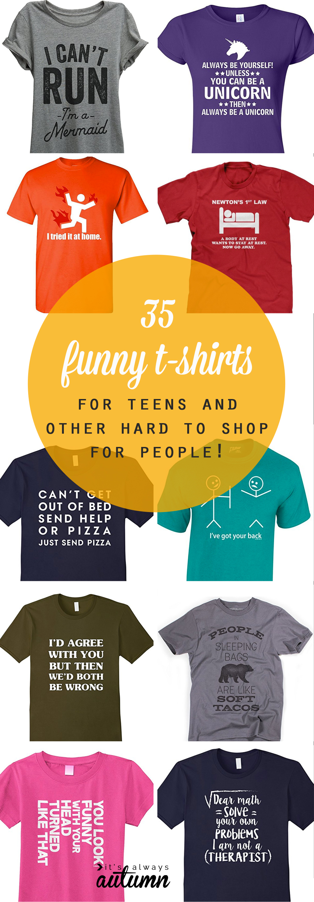collage of funny t-shirts for teens