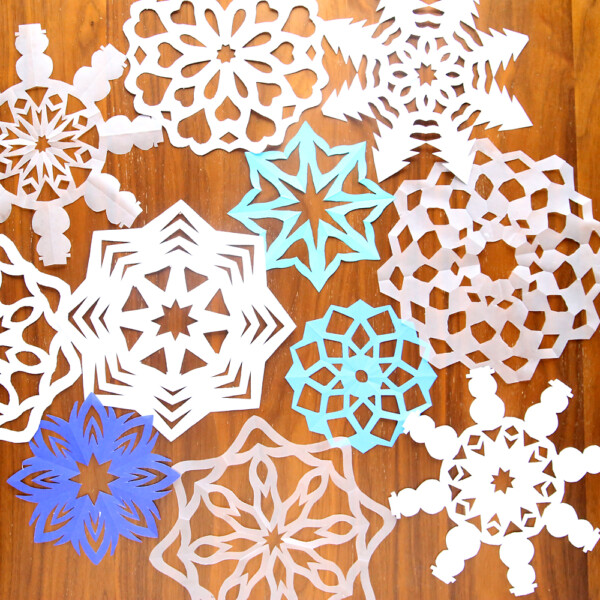 Paper snowflakes in various shapes and sizes