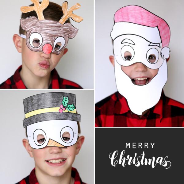 A boy wearing printable Christmas masks for kids