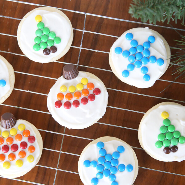 Sugar cookies decorated for Christmas with M&Ms