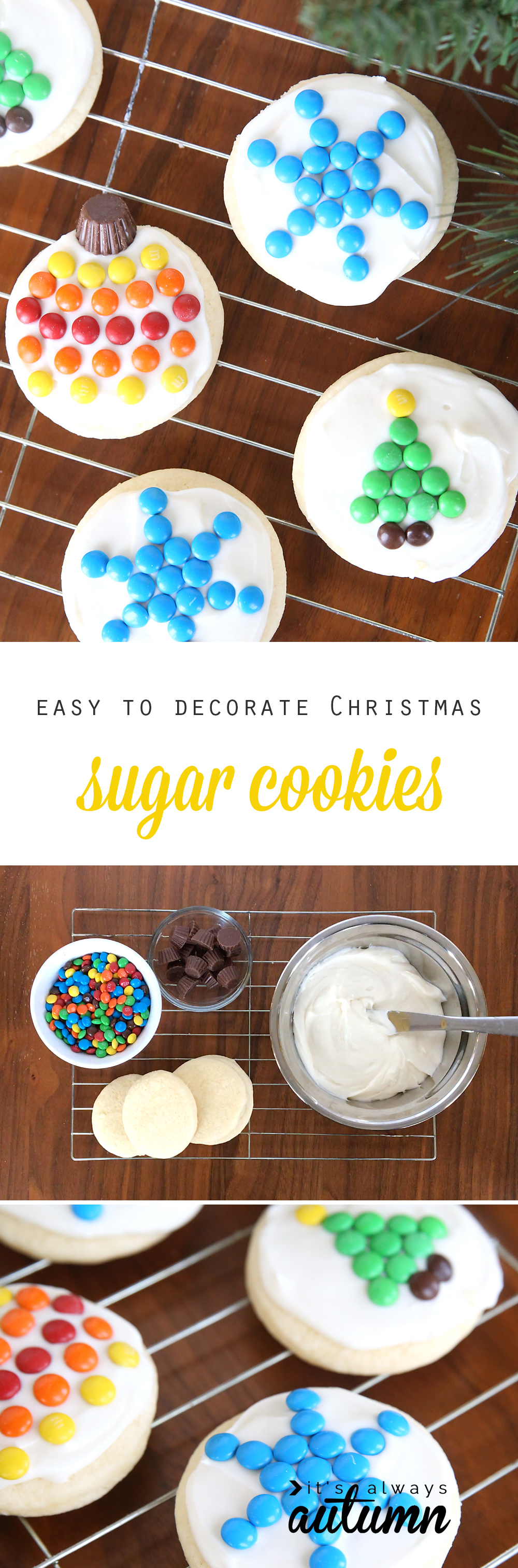 These are adorable! Mini M&Ms make it super easy to decorate Christmas sugar cookies. Fun kid activity and great sugar cookie and cream cheese frosting recipe.