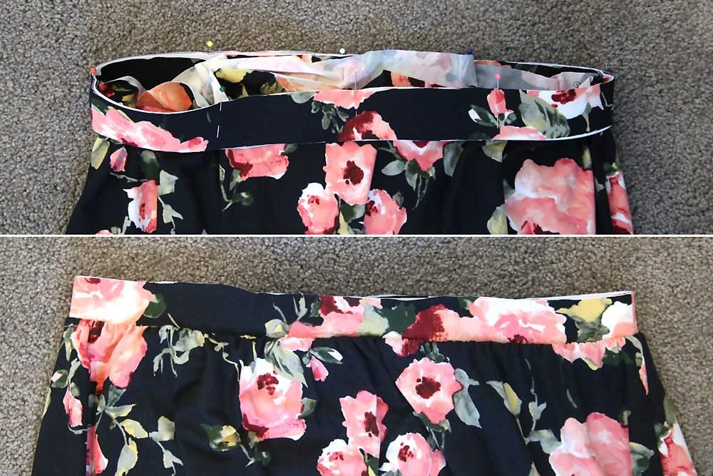 The loop of elastic and waistband placed around the top of the skirt; also shown sewn together