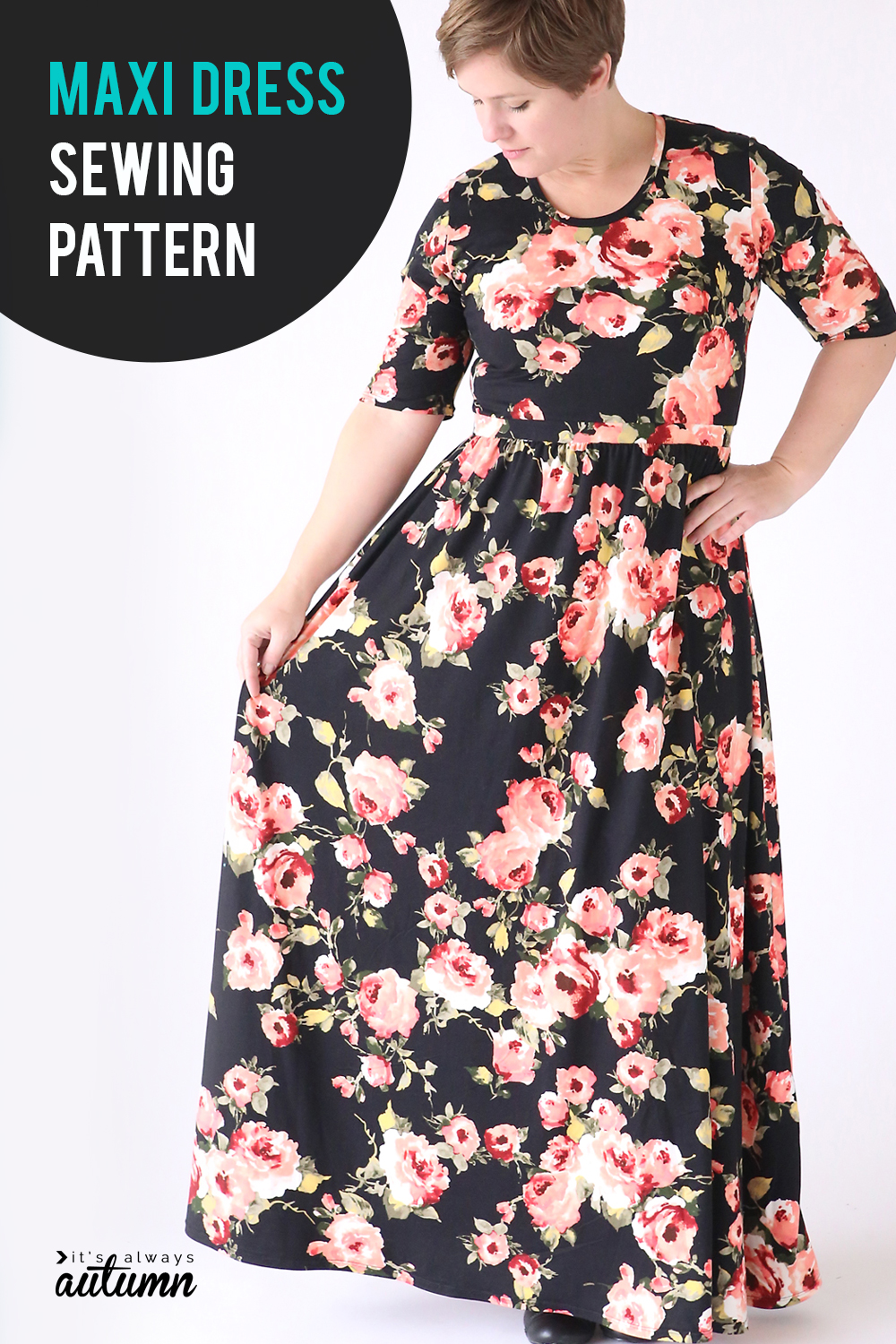 Click through to learn how to make this gorgeous maxi dress using a free t-shirt pattern. Maxi dress sewing pattern and tutorial.