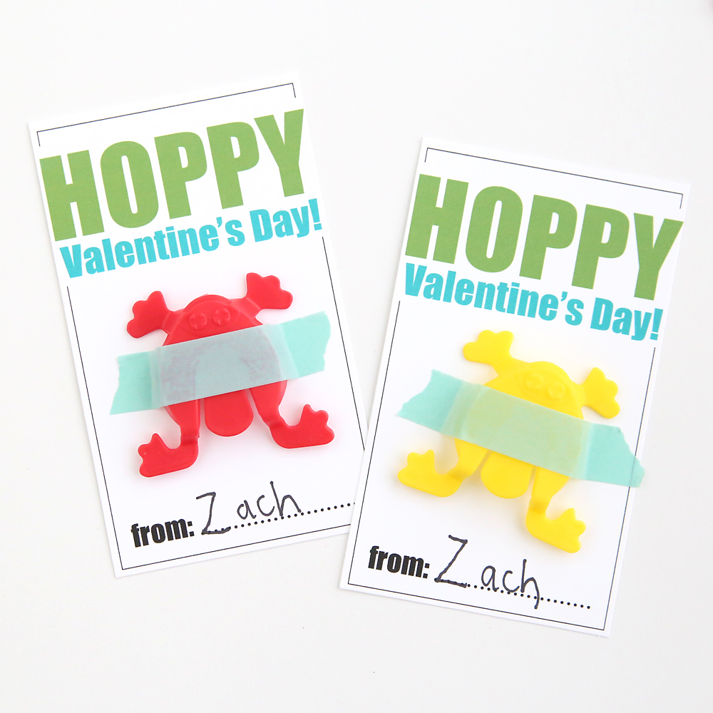 Cute free printable Valentine's Day card with hopping frog toys. Great non candy Valentine idea. Cheap and easy DIY Valentine's Day cards.