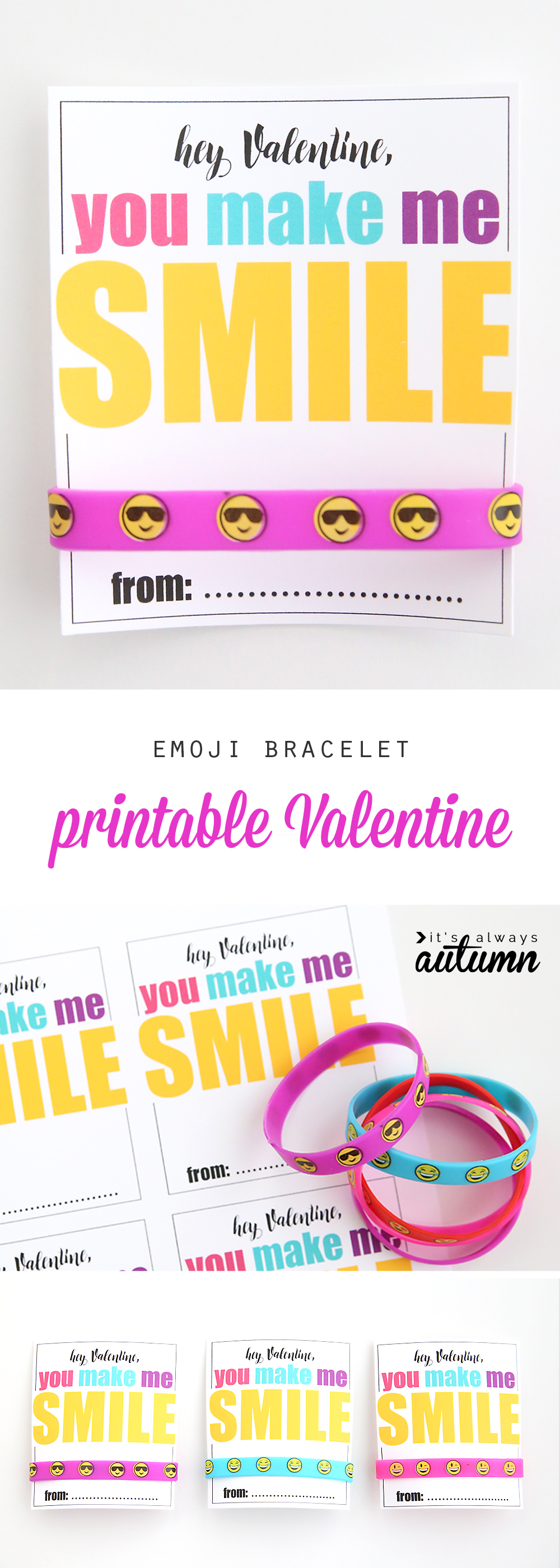 Valentine\'s card that says Hey Valentine, you make me smile, with a bracelet that has emojis on it
