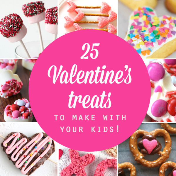 Collage of Valentine's treats to make with your kids