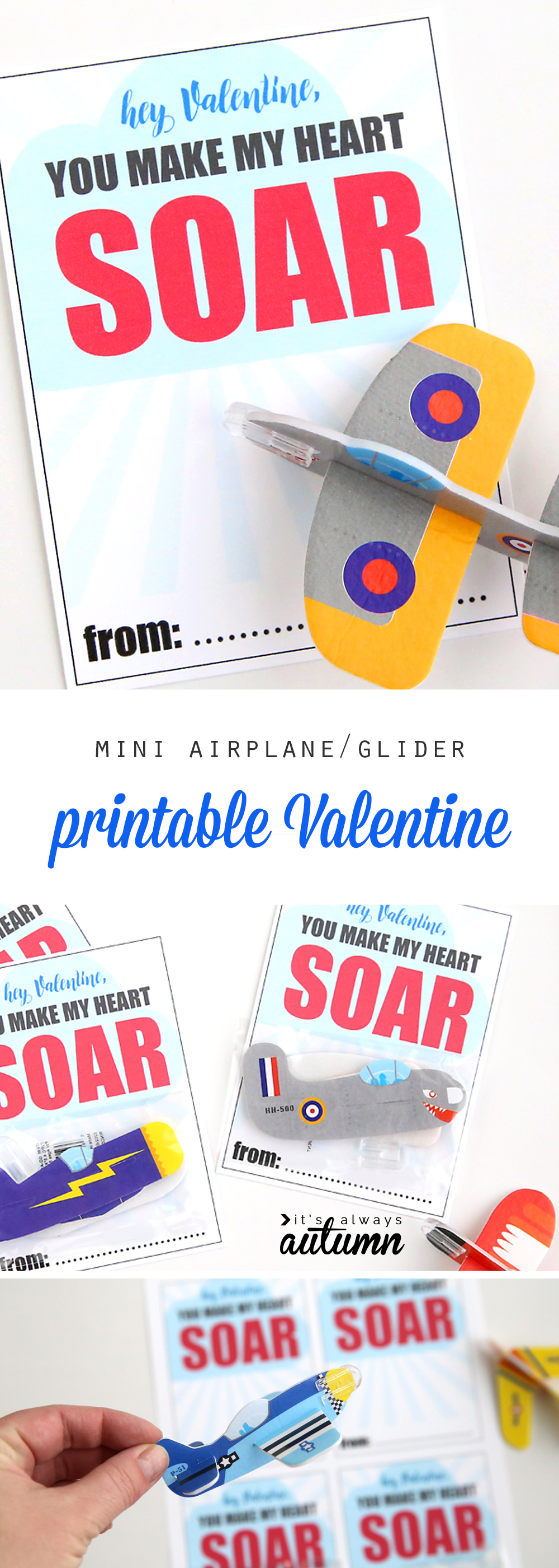 Mini glider Valentine\'s day cards that say: hey Valentine, you make my heart soar