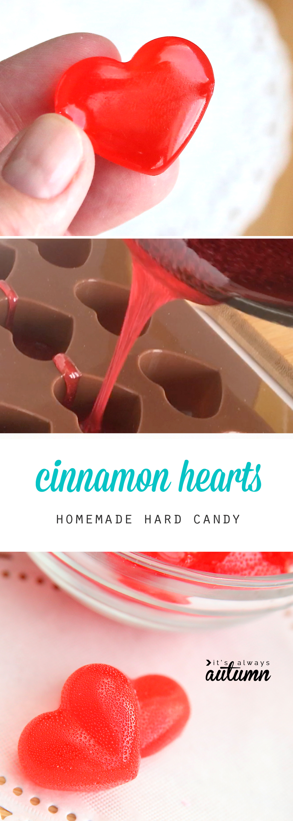Cinnamon heart candy; melted candy being poured into heart molds