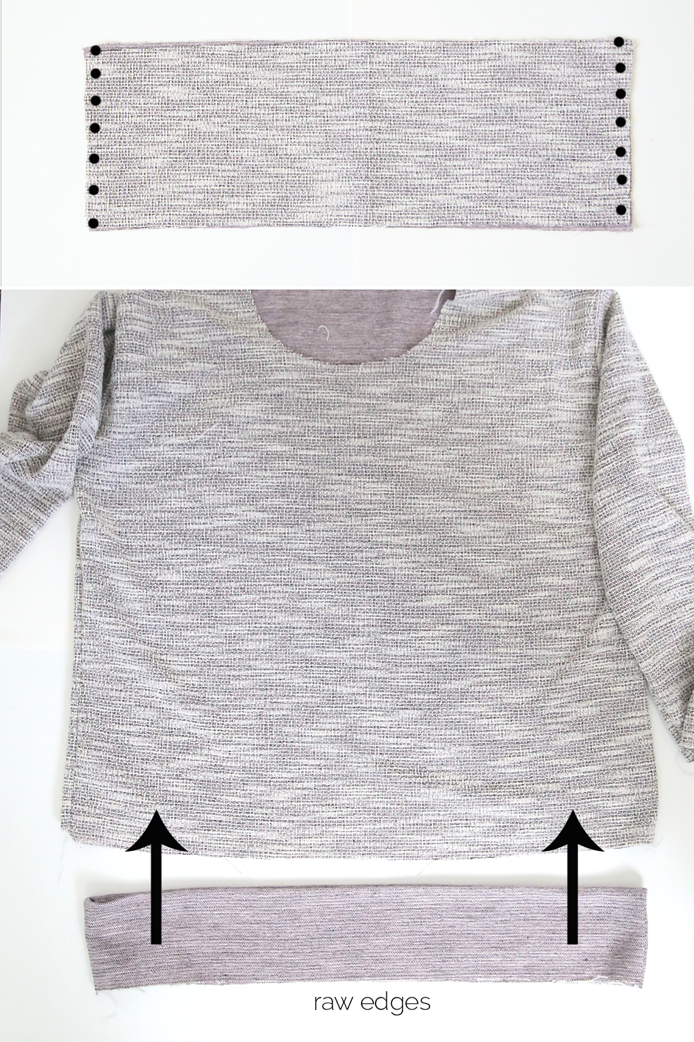 hem band with side seams marked; hem band  folded and going over the bottom edge of the sweatshirt