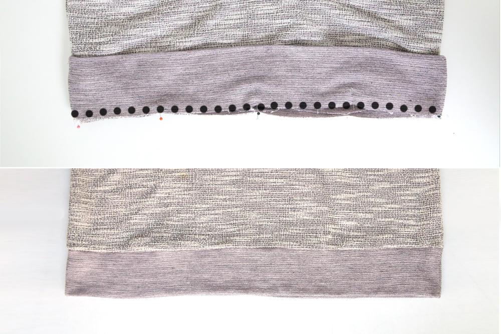 Hem band pinned onto bottom edge of sweatshirt; hem band sewn on
