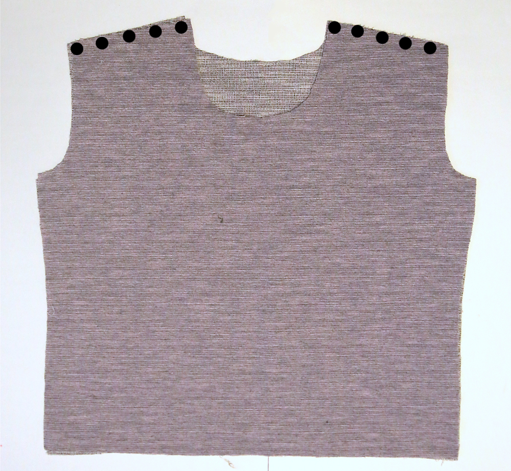 Sweatshirt bodice front and bodice back, marked at the shoulder seam