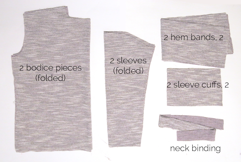 Slouchy sweatshirt pattern pieces: bodice pieces, sleeves, hem bands, sleeve bands, neck binding