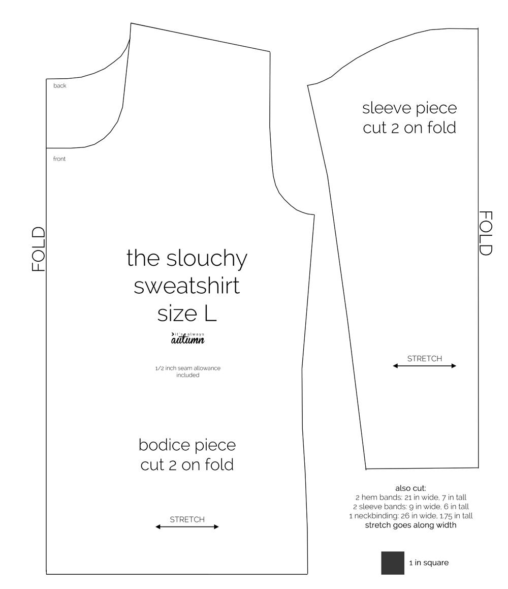 Slouchy sweatshirt pdf sewing pattern diagram