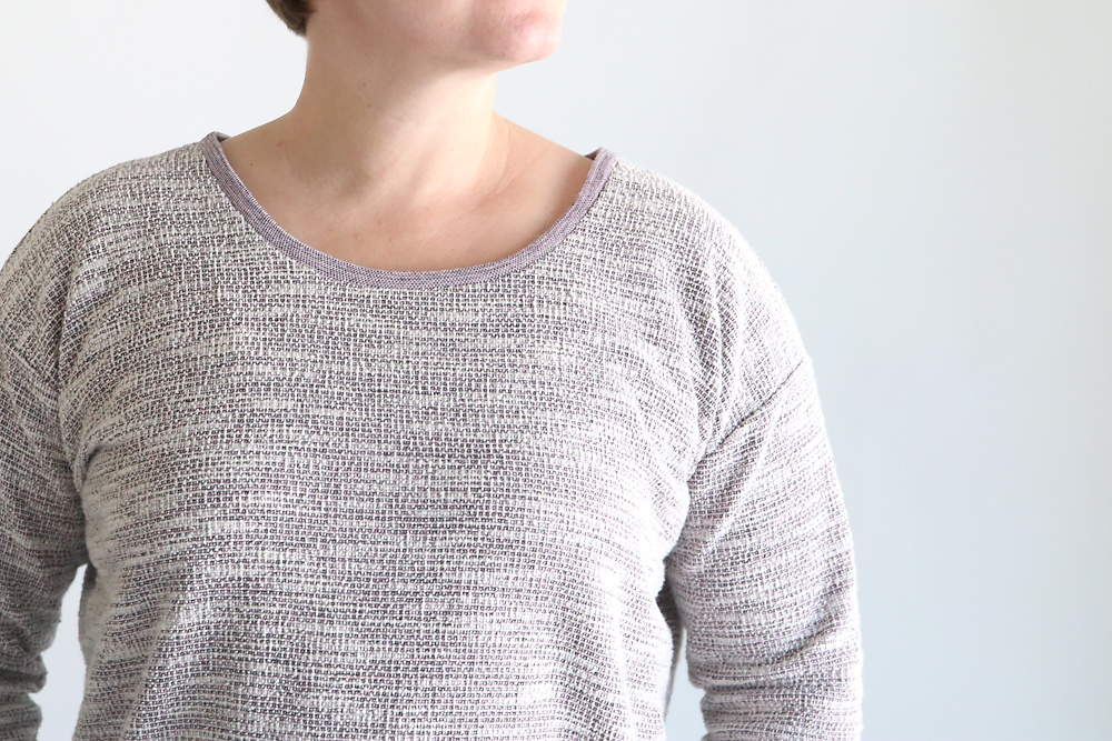 Closeup of finished neckline