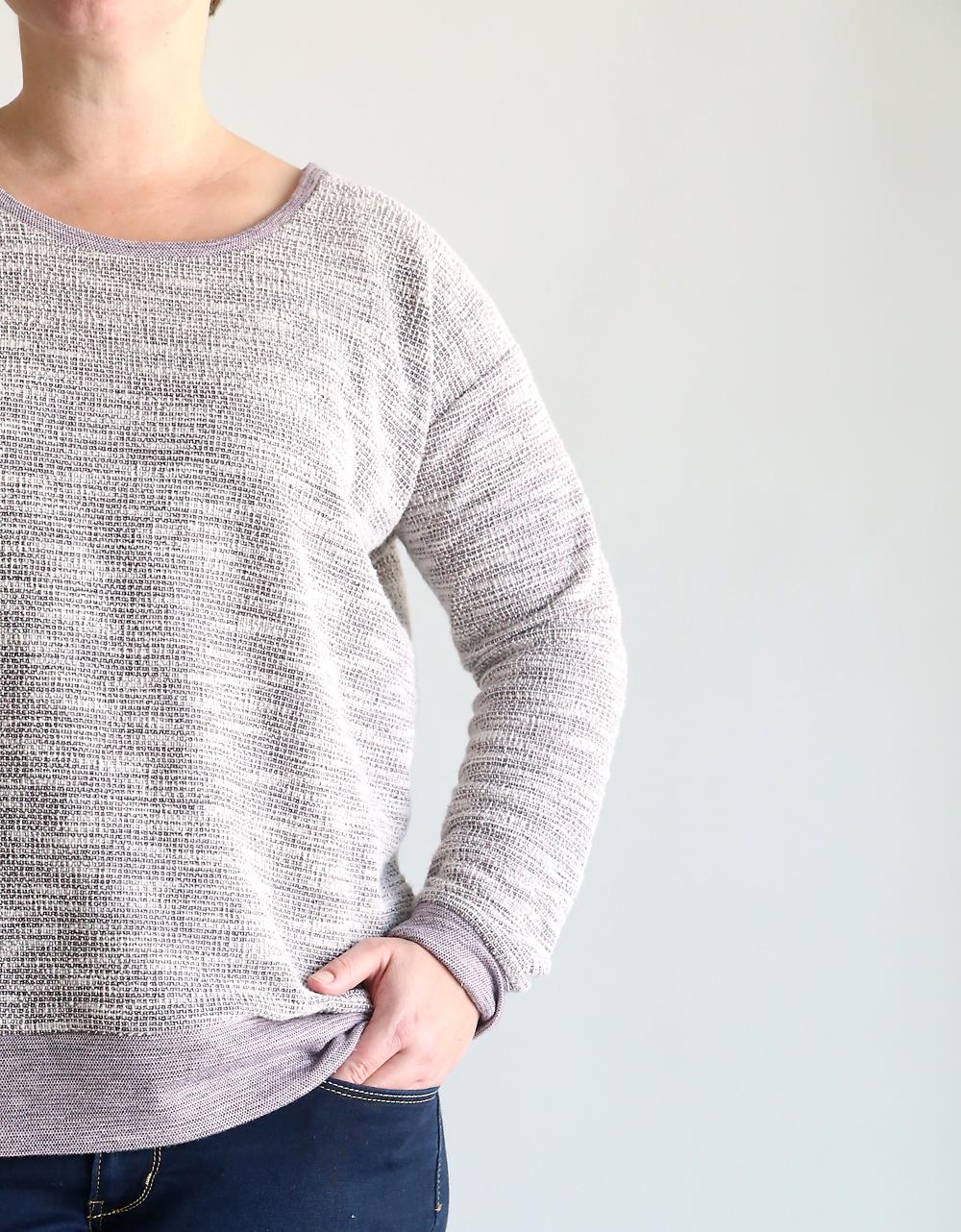 Closeup showing sleeve of slouchy sweatshirt