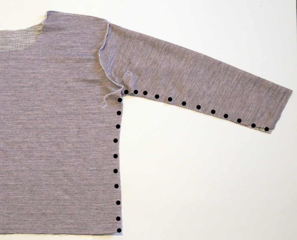 sweatshirt with underarm and side seam marked