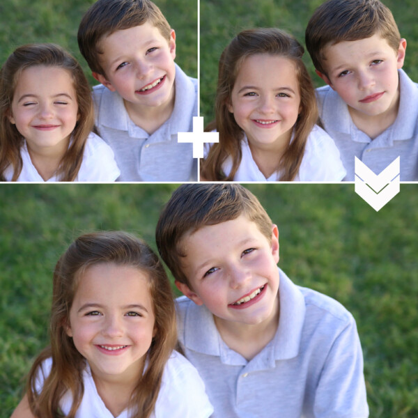 Two photos of a girl and boy merged to make a better photo where both are looking at the camera and smiling.