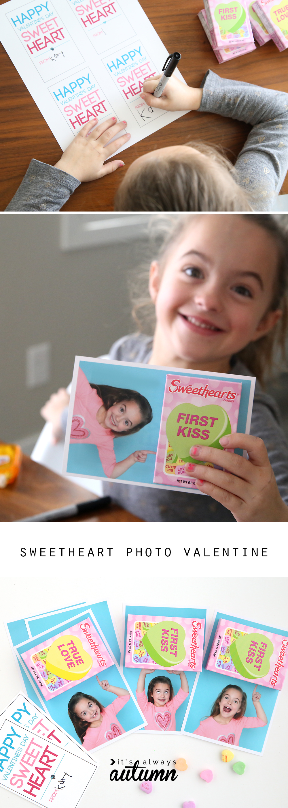 What a fun idea! Take a photo of your child to make it look like she's holding a box of Sweethearts for a fun DIY Valentine's Day card. Easy instructions and free printable included.