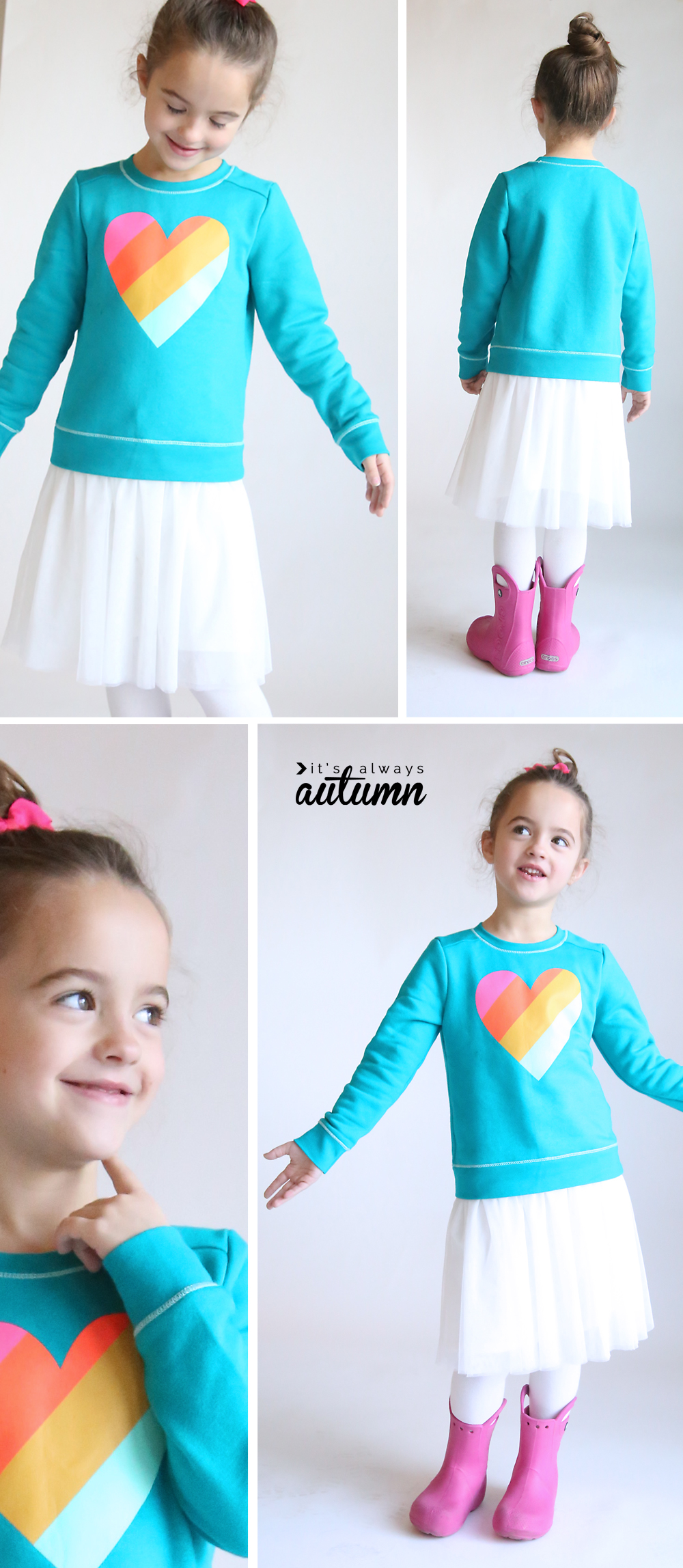 Add a pretty tulle skirt to a storebought sweatshirt for an adorable little girl's dress. How to sew a girls dress. Easy sewing tutorial.