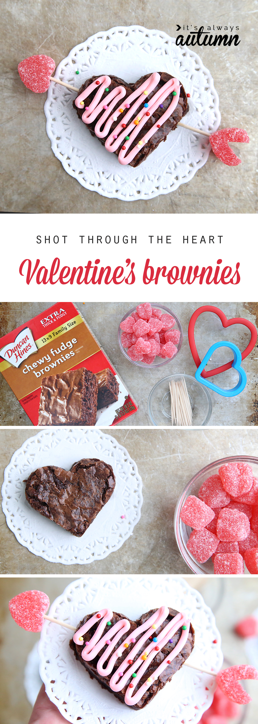 Brownies cut into heart shape, with jelly hearts and toothpicks forming an arrow through the brownie heart
