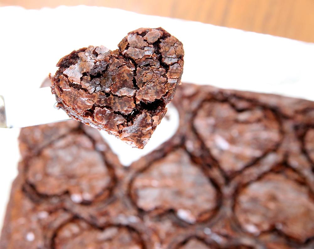 A brownie cut into a heart shape