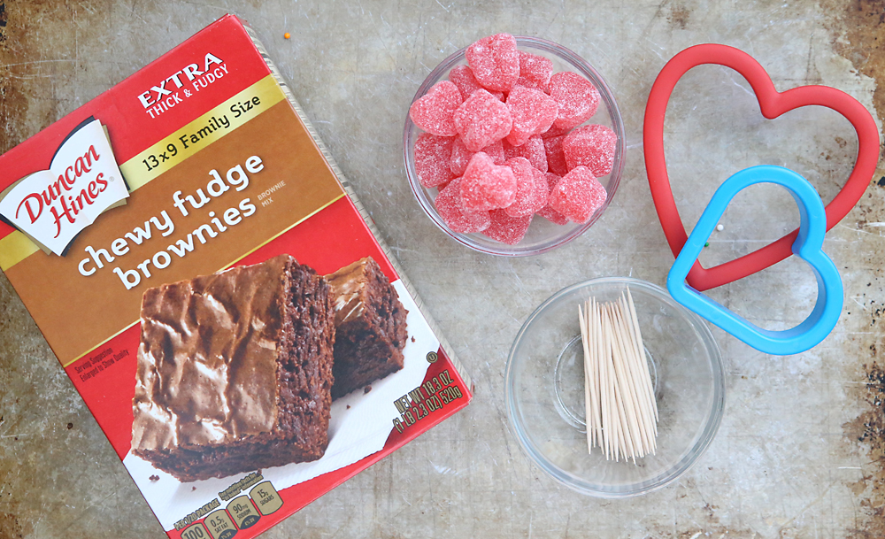 Brownie mix, jelly hearts candy, toothpicks, heart cookie cutters