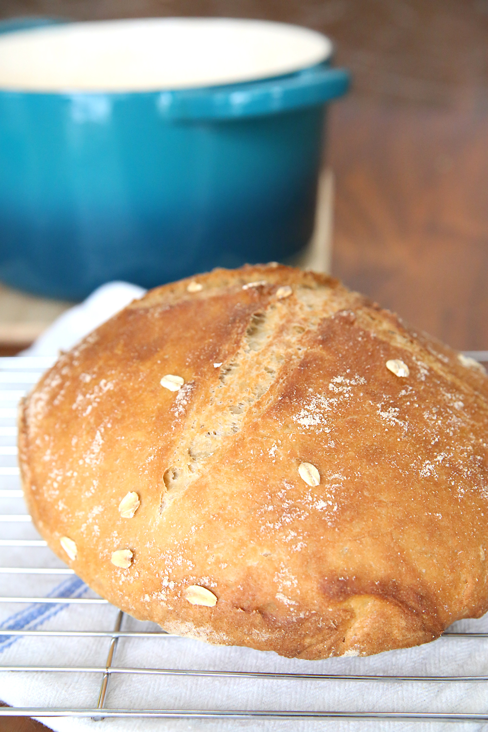 Loaf of crusty whole wheat artisan bread