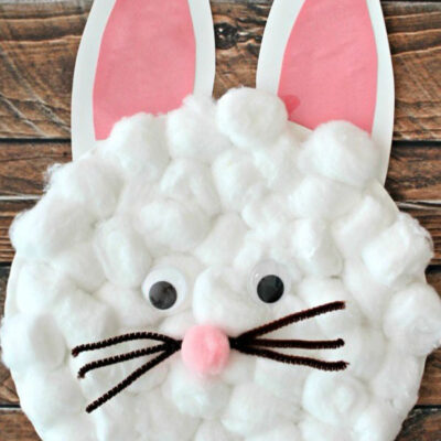 Paper plate Easter bunny craft using cotton balls