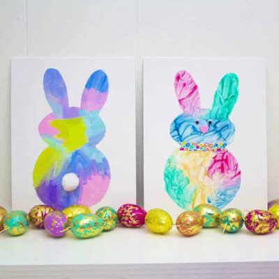 Easter bunny paintings for kids and toddlers