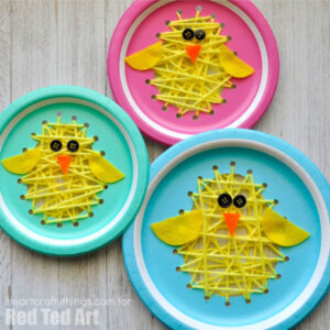 Pastel paper plates made to look like Easter chicks using string art