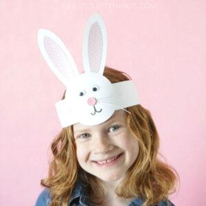 Girl wearing a paper bunny headband