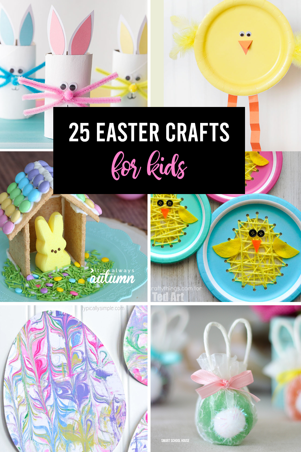 Collage of pictures of different Easter crafts for kids