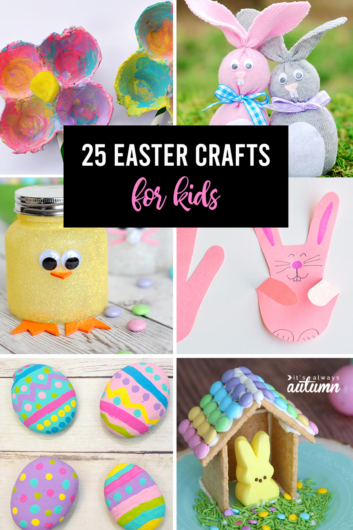 Collage of 25 Easter crafts for kids