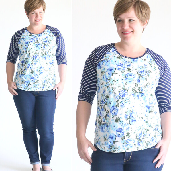 A woman wearing a blue floral shirt with striped sleeves made from a free PDF sewing pattern