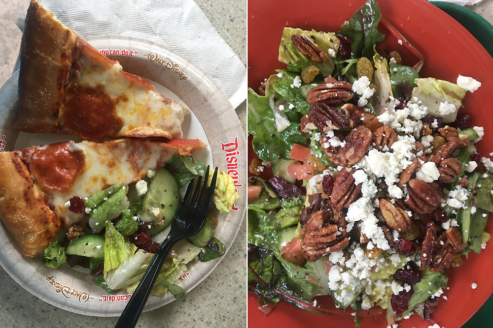 Two slices of pizza on a paper plate with a large salad