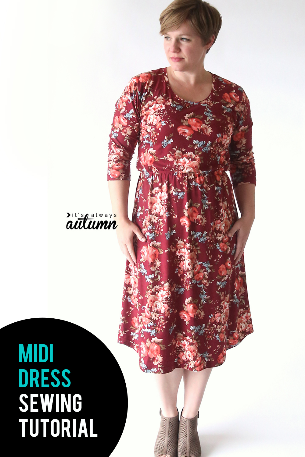 Learn how to make a cute midi dress using a free t-shirt pattern. Midi dress sewing tutorial.