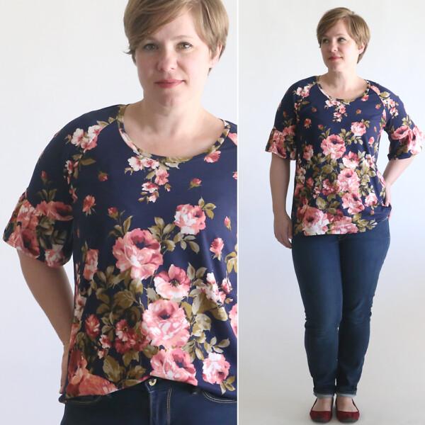Woman modeling a ruffle sleeve t-shirt pattern