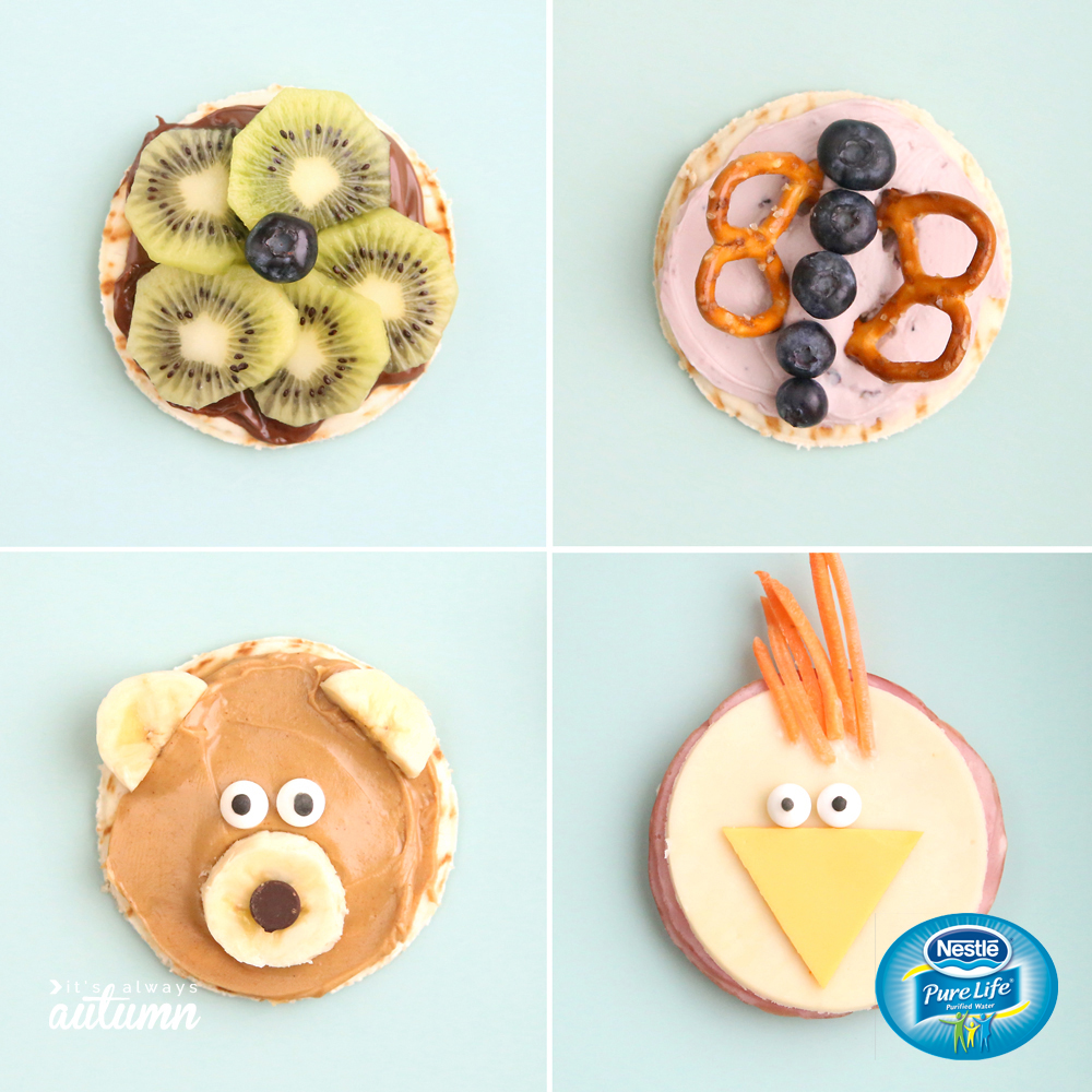 Collage of silly snacks for kids