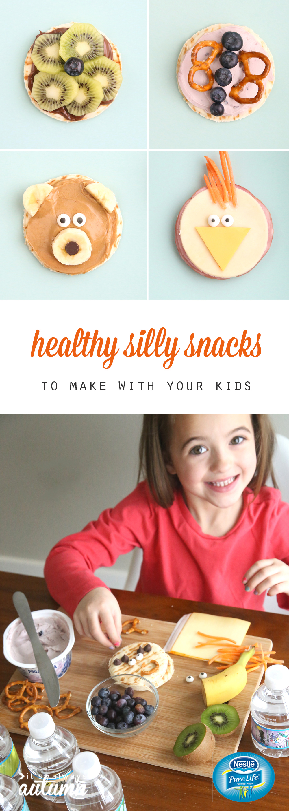 healthy snack ideas for kids that are decorated to look like animals