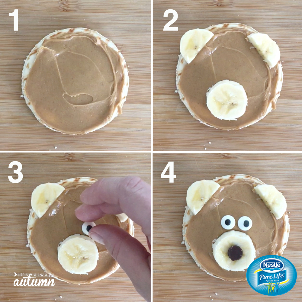 Steps to making a bear snack: pita circle layered with peanut butter, banana slices for ears and nose, candy eyes