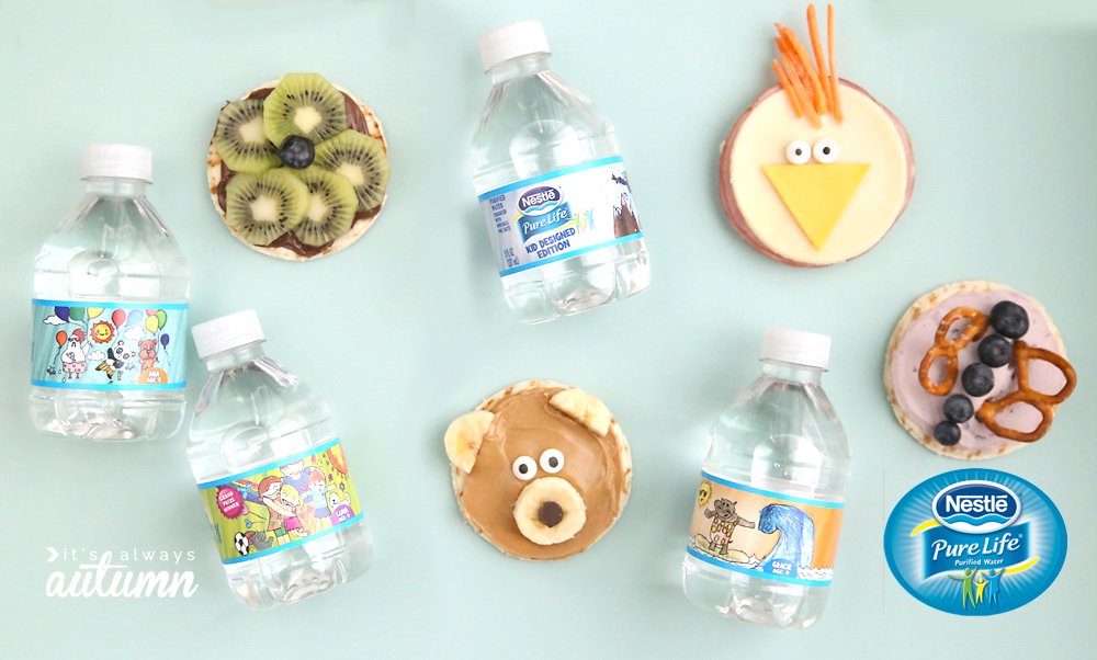 Silly decorated snacks for kids and water bottles