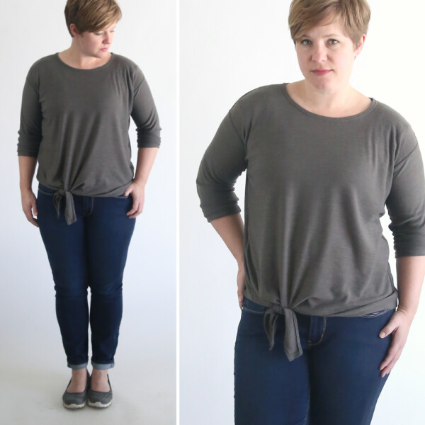 A woman wearing a sweater with a tie front hem made from a free pdf sewing pattern