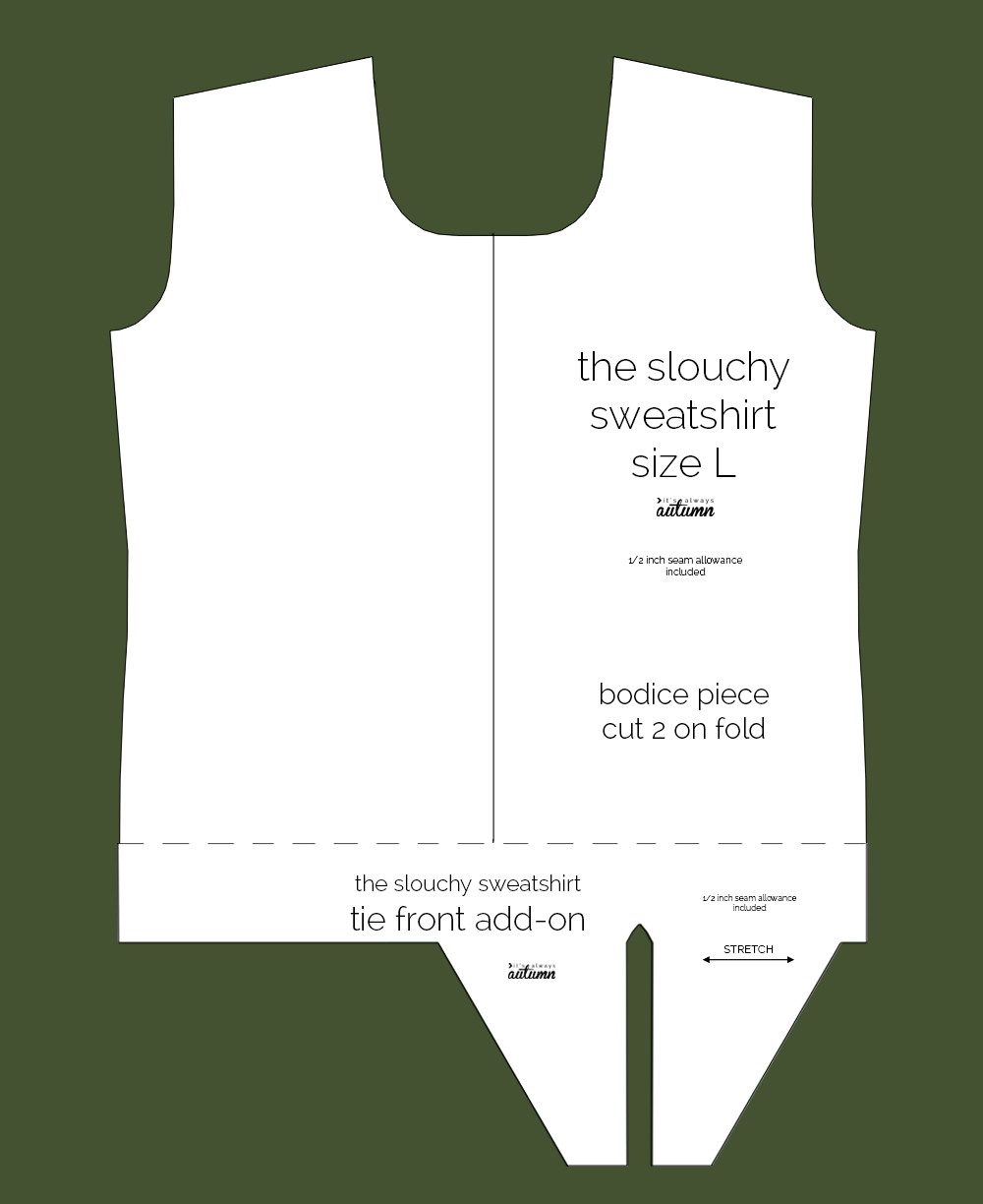 Slouchy sweatershirt pdf sewing pattern with tie front add on