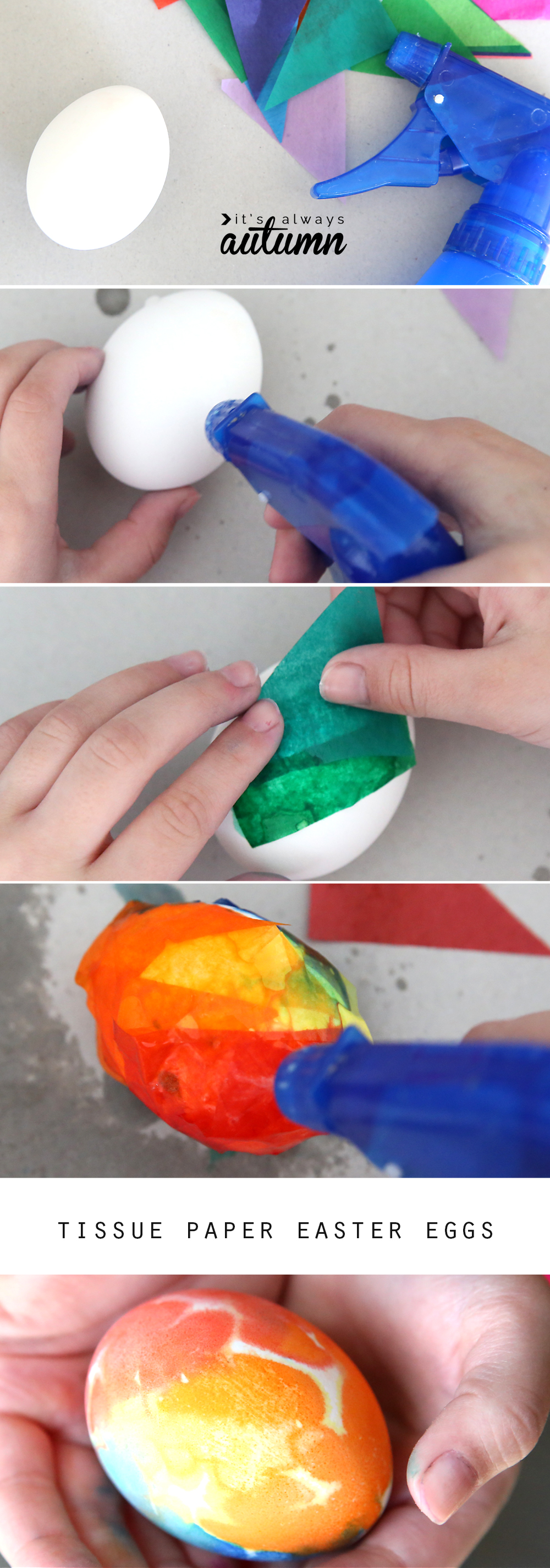 Hand placing pieces of tissue paper on Easter eggs sprayed with water